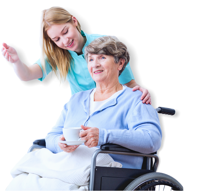 caregiver and old woman talking